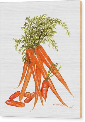 Illustration Of Carrots Wood Print by Nan Wright