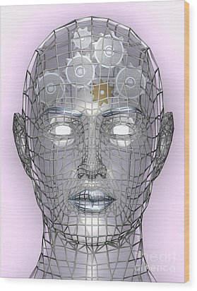 Illustration Of Cogs Or Gears In Human Head Wood Print by Christos Georghiou