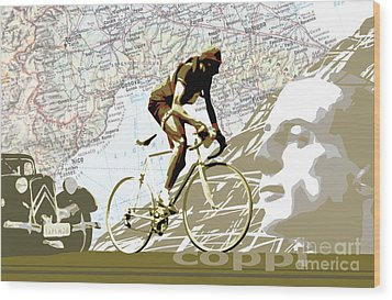 Illustration Print Giro De Italia Coppi Vintage Map Cycling Wood Print by Sassan Filsoof