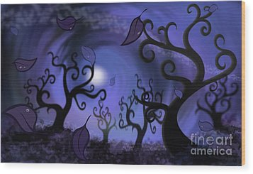 Illustration Print Of Spooky Forest Of Curly Trees Wood Print by Sassan Filsoof