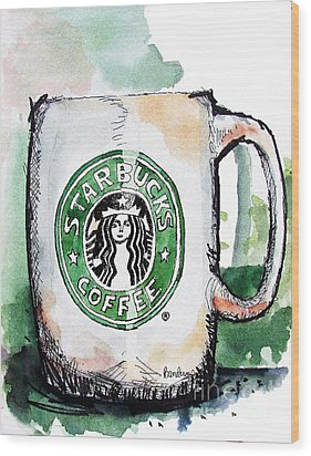 I'm Thinking Starbucks Wood Print by Terry Banderas