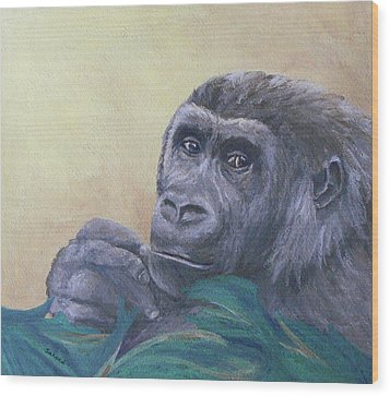 Wood Print featuring the painting I'm Watching You by Margaret Saheed
