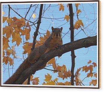 I'm Watching You Wood Print by Sara  Raber