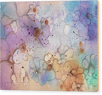 Wood Print featuring the painting Imaginary Figments Abstract Flowers by Nan Wright