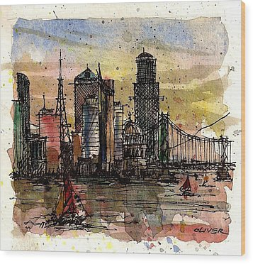 Wood Print featuring the mixed media Imaginary Skyline by Tim Oliver