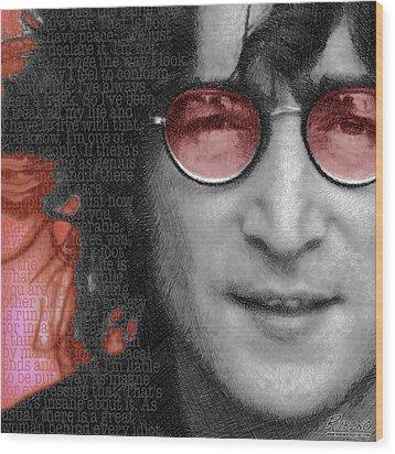 Imagine John Lennon Again Wood Print by Tony Rubino