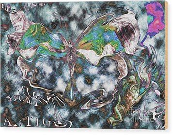 Imagine Number 2 Butterfly Art Wood Print by Andy Prendy