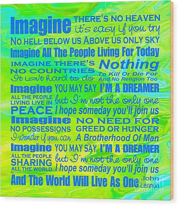 Imagine Song Lyrics - Landform Wood Print