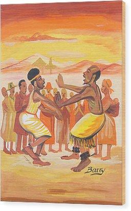 Wood Print featuring the painting Imbiyino Dance From Rwanda by Emmanuel Baliyanga