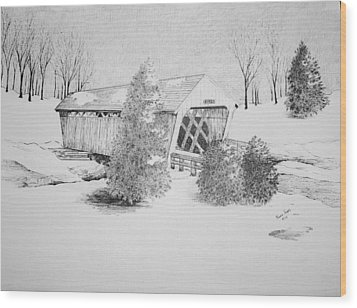 Imes Snow Bridge Wood Print by Tammie Temple