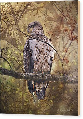 Wood Print featuring the digital art Immature Bald Eagle In Solitude by J Larry Walker