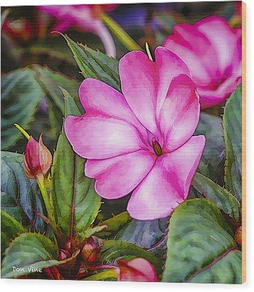 Impatiens Pink Wood Print