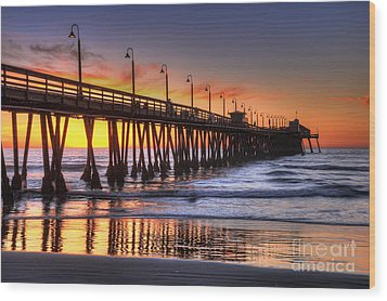Imperial Beach Pier Wood Print by Eddie Yerkish