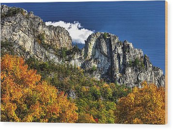 Imposing Seneca Rocks - Seneca Rocks National Recreation Area Wv Autumn Mid-afternoon Wood Print by Michael Mazaika