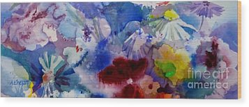 Impression Of  Flowers Wood Print by Donna Acheson-Juillet
