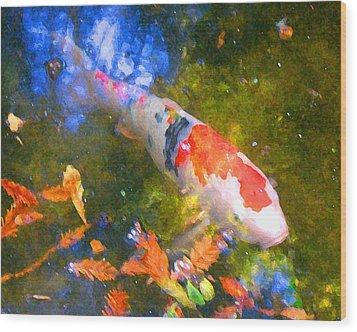 Impressionism  Koi 2 Wood Print by Amy Vangsgard