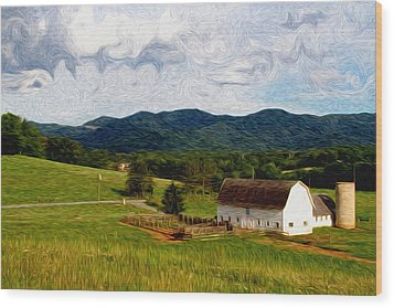 Wood Print featuring the painting Impressionist Farming by John Haldane