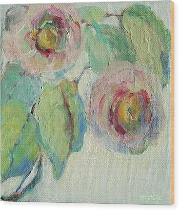 Impressionist Roses  Wood Print by Mary Wolf