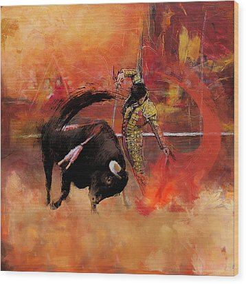 Impressionistic Bullfighting Wood Print by Corporate Art Task Force