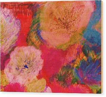 Impressionistic Flowers From The Imagination Wood Print by Anne-Elizabeth Whiteway