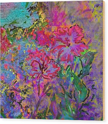 Impressionistic Magenta Hibiscus - Square Wood Print by Lyn Voytershark