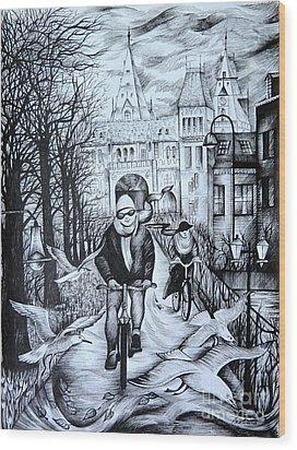 Impressions Of Amsterdam Wood Print by Anna  Duyunova