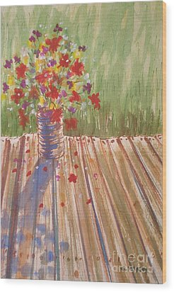 Wood Print featuring the painting Impromptu Bouquet by Suzanne McKay