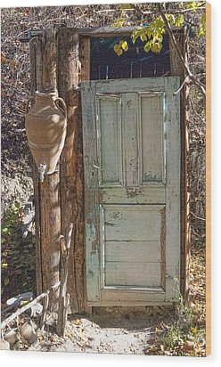 Improvised Outhouse Wood Print