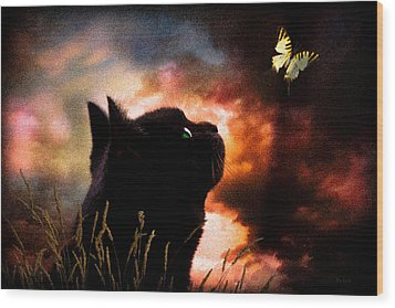 In A Cats Eye All Things Belong To Cats.  Wood Print by Bob Orsillo