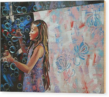Wood Print featuring the painting In A Country Blue Dragonflies  by Anastasija Kraineva