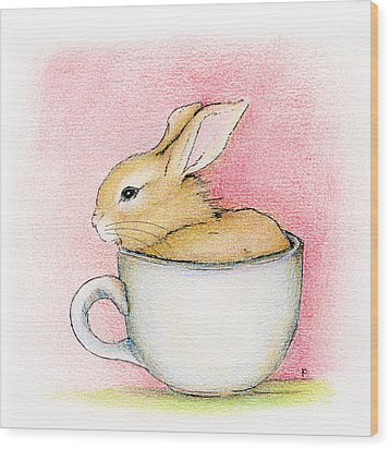 In A Tea Cup Wood Print by Penny Collins