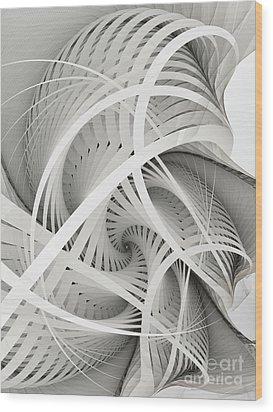 In Betweens-white Fractal Spiral Wood Print