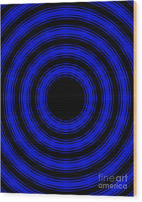 Wood Print featuring the painting In Circles- Blue Version by Roz Abellera Art