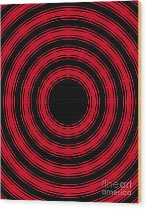 Wood Print featuring the painting In Circles- Red Version by Roz Abellera Art