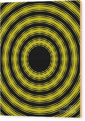 Wood Print featuring the painting In Circles- Yellow Version by Roz Abellera Art