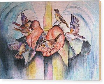 In His Hands Wood Print
