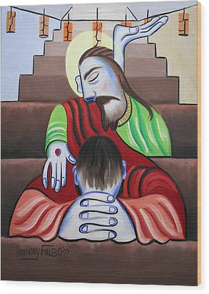 In Jesus Name Wood Print by Anthony Falbo