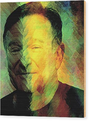 In Memory Of Robin Williams Wood Print by Ally  White