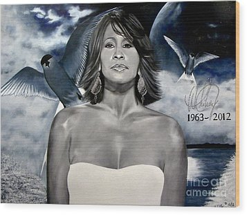 In Memory Of...whitney Houston Wood Print by Chelle Brantley