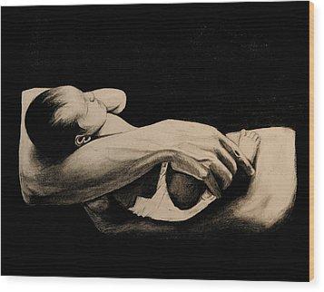 In My Arms Wood Print by Caroline  Reid