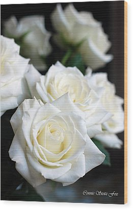 In My Dreams - White Roses Wood Print by Connie Fox