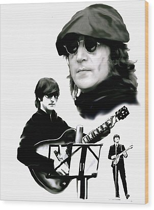 In My Life  John Lennon Wood Print by Iconic Images Art Gallery David Pucciarelli