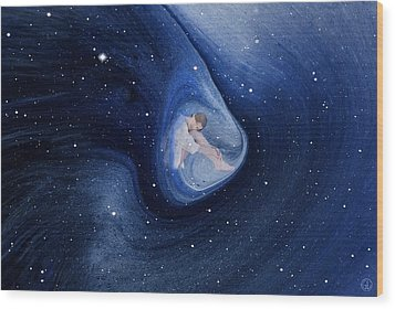 In My Safe Dreambubble Through Space Wood Print by Gun Legler