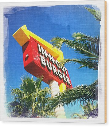 In-n-out Burger Wood Print by Nina Prommer