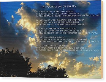 In Prayer I Touch The Sky Wood Print
