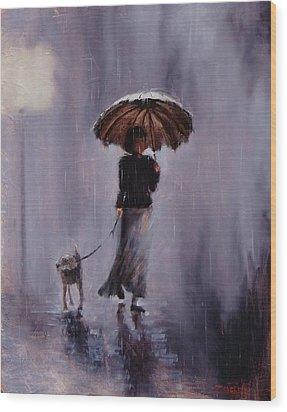 In Rain Or Shine Wood Print by Laura Lee Zanghetti