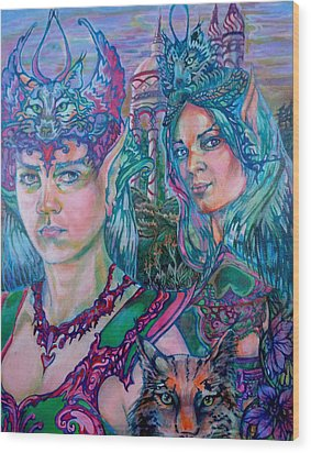 Wood Print featuring the painting In Silvermoon City by Suzanne Silvir