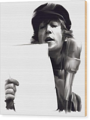 In Studio John Lennon Wood Print by Iconic Images Art Gallery David Pucciarelli