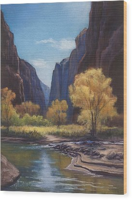In The Bend Zion Canyon Wood Print