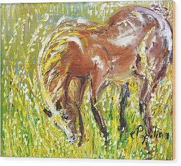 In The Field Wood Print by Evelina Popilian